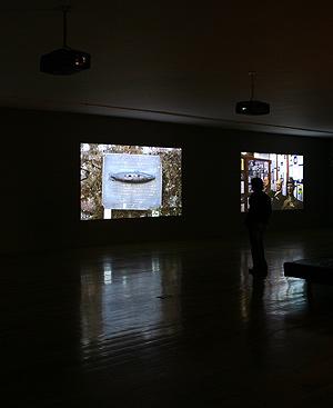 Vista de la videoinstalación 'La escena del crimen'.