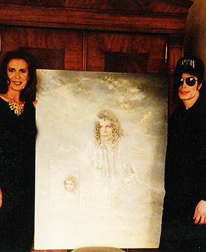 Nati Cañada y Michael Jackson, junto al retrato que le hizo.
