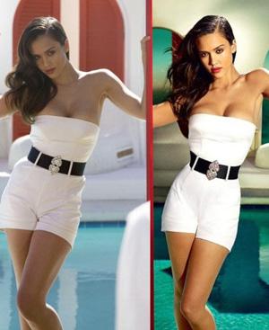 Jessica Alba antes (izquierda) y después del Photoshop en el pecho, las rodillas y la cintura. (Foto: Community Live Journal)