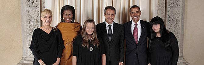 La familia Zapatero, con los Obama en Nueva York. FOTO: L. Jackson /Casa Blanca