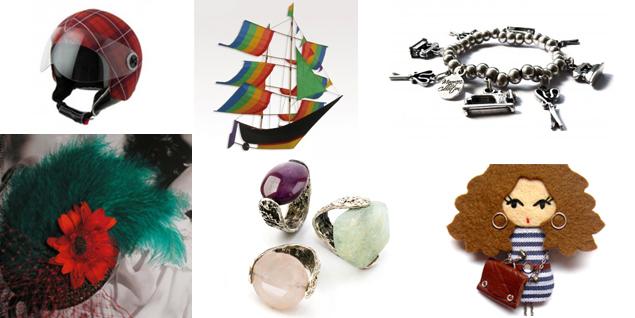 Regalos de diseño de Uniccos.com. Casco de Helmetdress, cometa de Kukinos, pulsera de Marmara, tocado de Ojuilla, sortijas de Pia y muñeca de Minimis. (Fotos: Uniccos.com)
