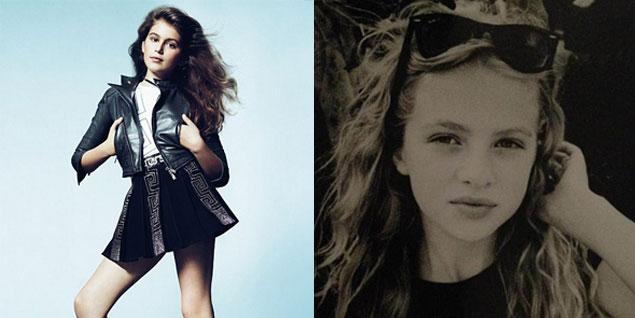 Kaia Gerber, hija de Cinfy Crawford, imagen de Young Versace y Anaïs Gallagher, hija de Noel Gallagher, fotografiada por Mario Testino. (Fotos: Young Versace/Twitter)