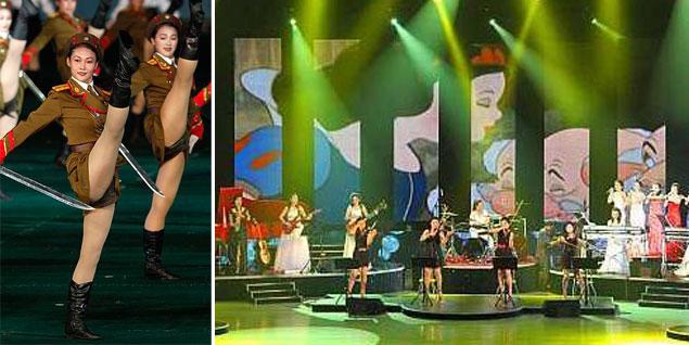 A la izqda., las mujeres de la armada norcoreana; a la dcha., el concierto retransmitido por la televisión estatal al que asistió Kim Jong-un. (Fotos: Youtube/Agencias)