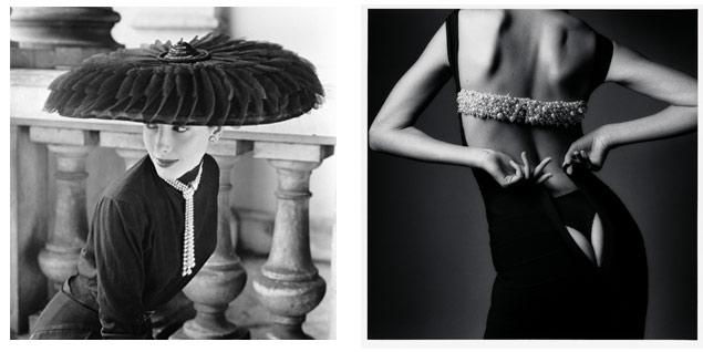 A la izqda.: 'Le Groux Soeurs Hat', ©Norman Parkinson. A la dcha.: 'El vestido estrecho', ©Jean Loup Stieff.