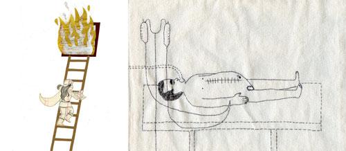 Ilustraciones de Raquel Marín y Elisa Arguile para la exposición 'Estéreo-tipas'.