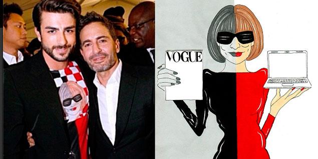 A la izquierda, Marc Jacobs y Harry Louis con una camiseta ilustrada con uno de los diseños de aleXsandro Palombo; a la derecha, ilustración de aleXsandro Palombo. (Fotos: aleXsandro Palombo).