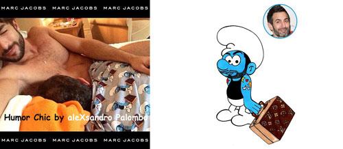 A la izquierda, imagen del pijama que el ilustrador italiano atribuye a Marc Jacobs; a la derecha, Marc Jacobs convertido en pitufo por aleXsandro Palombo. (Fotos: aleXsandro Palombo).