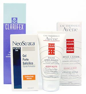 De izda a dcha. Gel limpiador Clarifex purificante y gel limpiador NeoStrata a base de ácido glicólico, ambos de Cantabria. Bálsamo para después del afeitado y crema de afeitar para pieles sensibles de Eau Thermale Avène.
