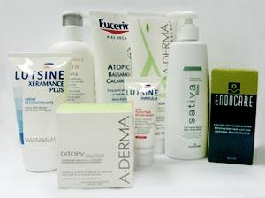 De izda a dcha. Lutsine Xeramance Plus y TriXerá de Eau Thermale, cremas para pieles sensibles, secas y atópicas. Bálsamo calmante de Eucerin. Ditopy de A-Derma, sobres para tomar que refuerzan las defensas del organismo. Se complementa con Exomega de A-Derma, un bálsamo con Omega 6 y vitamina B3 indicado para pieles atópicas. Lutsine Immulia hidrata y ayuda a restablecer la tolerancia natural de la piel. Gel Sativa de CosmeClinik con avena y alóe muy calmante y refrescante. Loción regeneradora Endocare de Cantabria, especialmente indicada para la piel dañada.