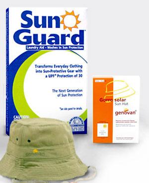 Sunguard, detergente con protección solar, y gorro solar de Genovan.