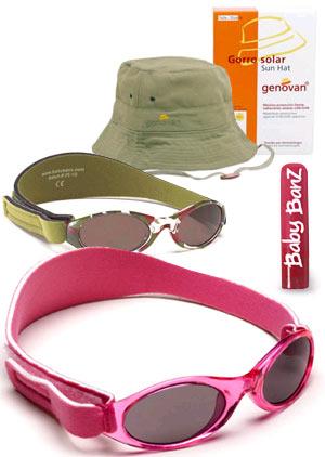 Gorro con protección solar Geován y gafas de sol infantiles de Baby Banz.